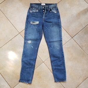 Boyish High Waisted Distressed Denim Jeans Size 25